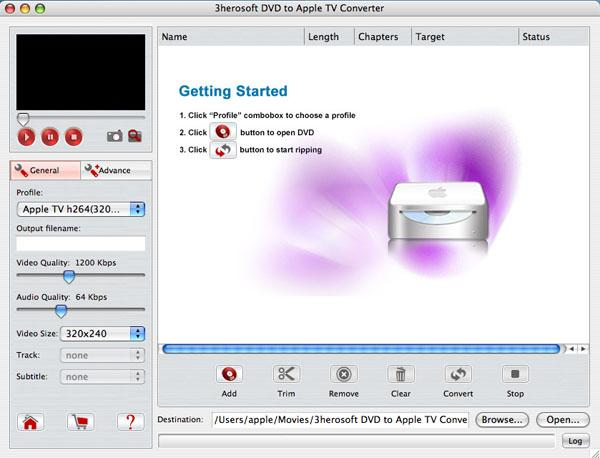 3herosoft DVD to Apple TV Converter for Mac 3.5.0.0309