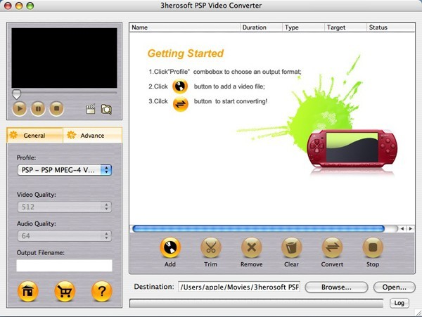 3herosoft PSP Video Converter for Mac 3.0.1.0512