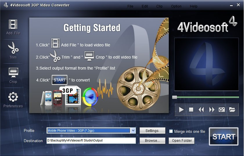 4Videosoft 3GP Video Converter 3.1.08