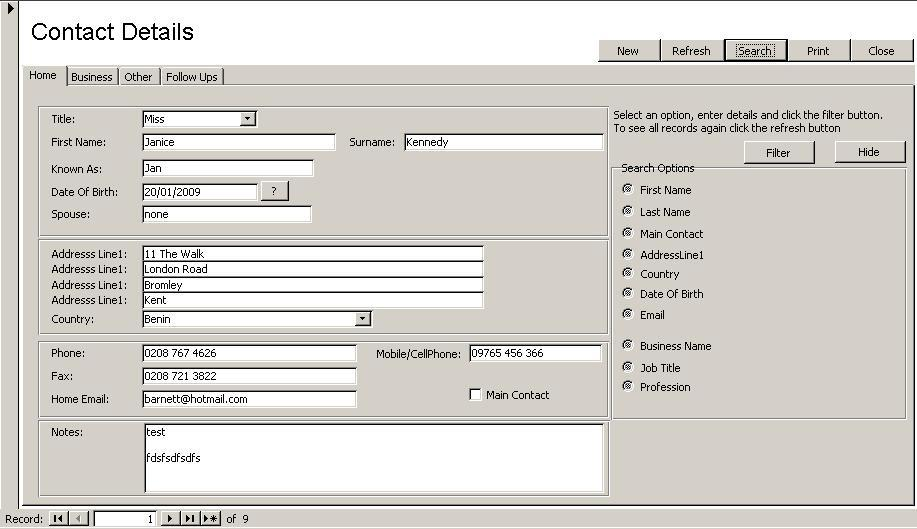 Access Database Contact Manager 1