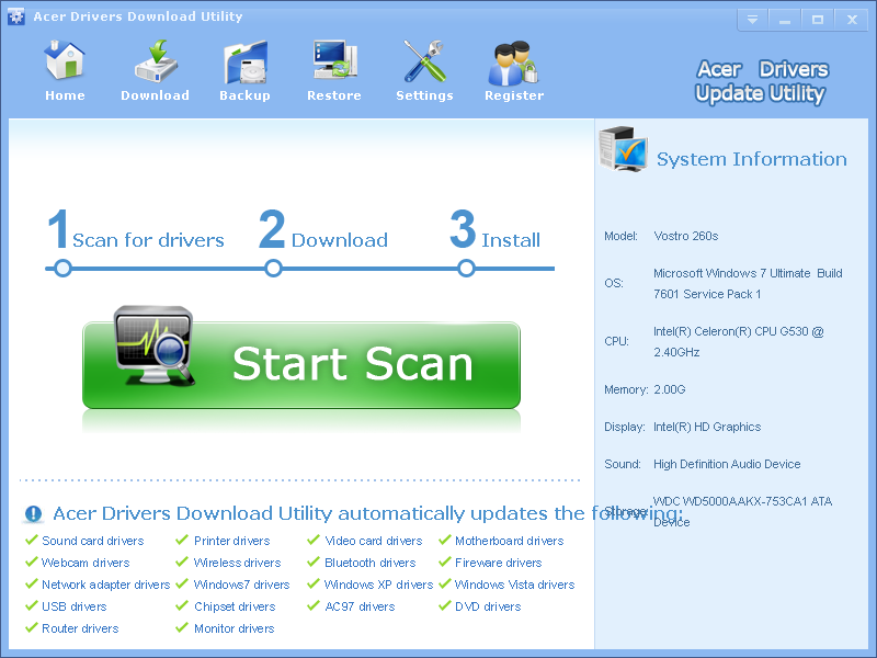 Acer Drivers Download Utility 3.4.9
