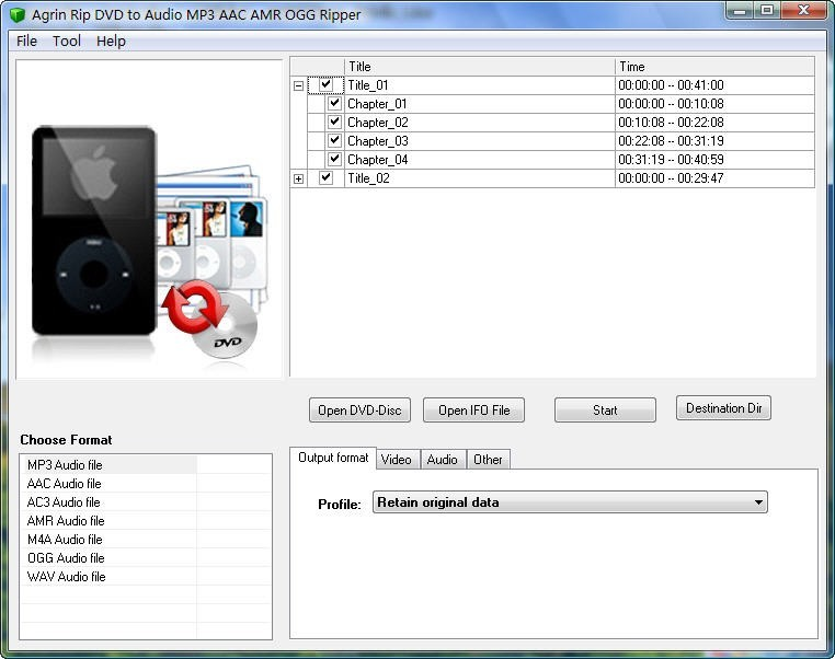 Agrin Rip DVD to Audio MP3 AAC Ripper 4.2