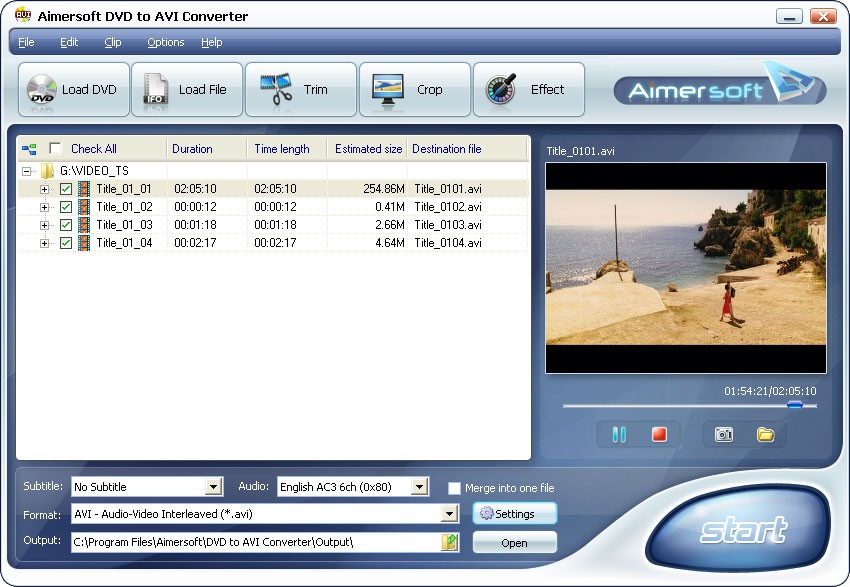 Aimersoft DVD to AVI Converter 2.2.0.27