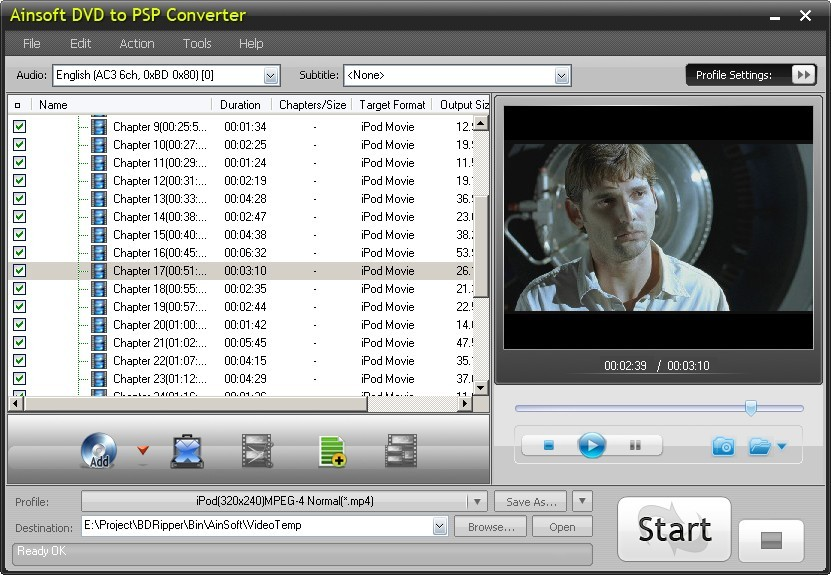 Ainsoft DVD to PSP Converter 1.0.1.47