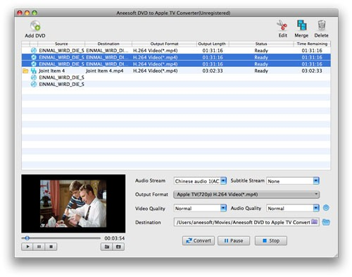 Aneesoft DVD to Apple TV Converter for Mac 3.7.0