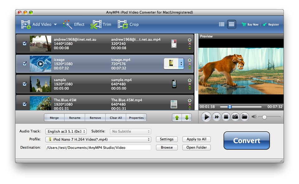 AnyMP4 iPod Video Converter for Mac 6.1.16