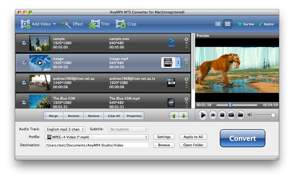 AnyMP4 MTS Converter for Mac 6.2.98