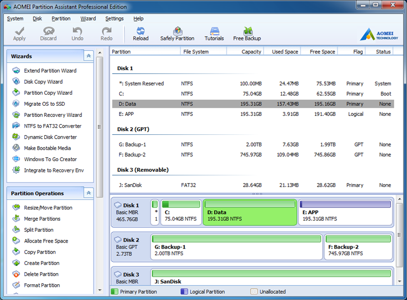 AOMEI Partition Assistant Professional Edition 7.0