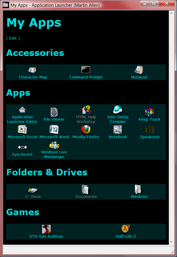 Application Launcher (and Editor) 2.1.1