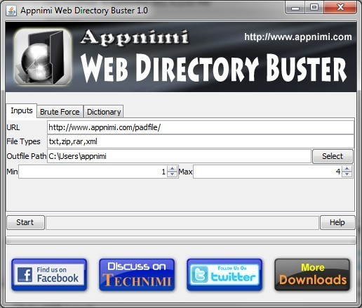 Appnimi Web Directory Buster Version 1.0