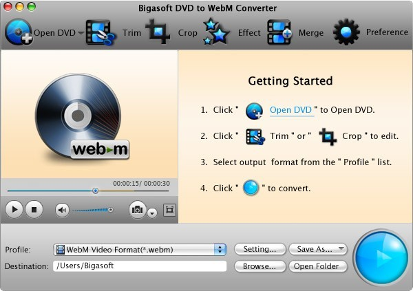 Bigasoft DVD to WebM Converter for Mac 3.1.8.4694