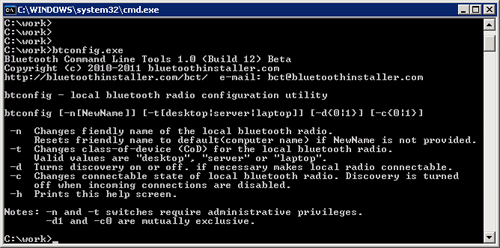 Bluetooth Command Line Tools 1.2.0.56