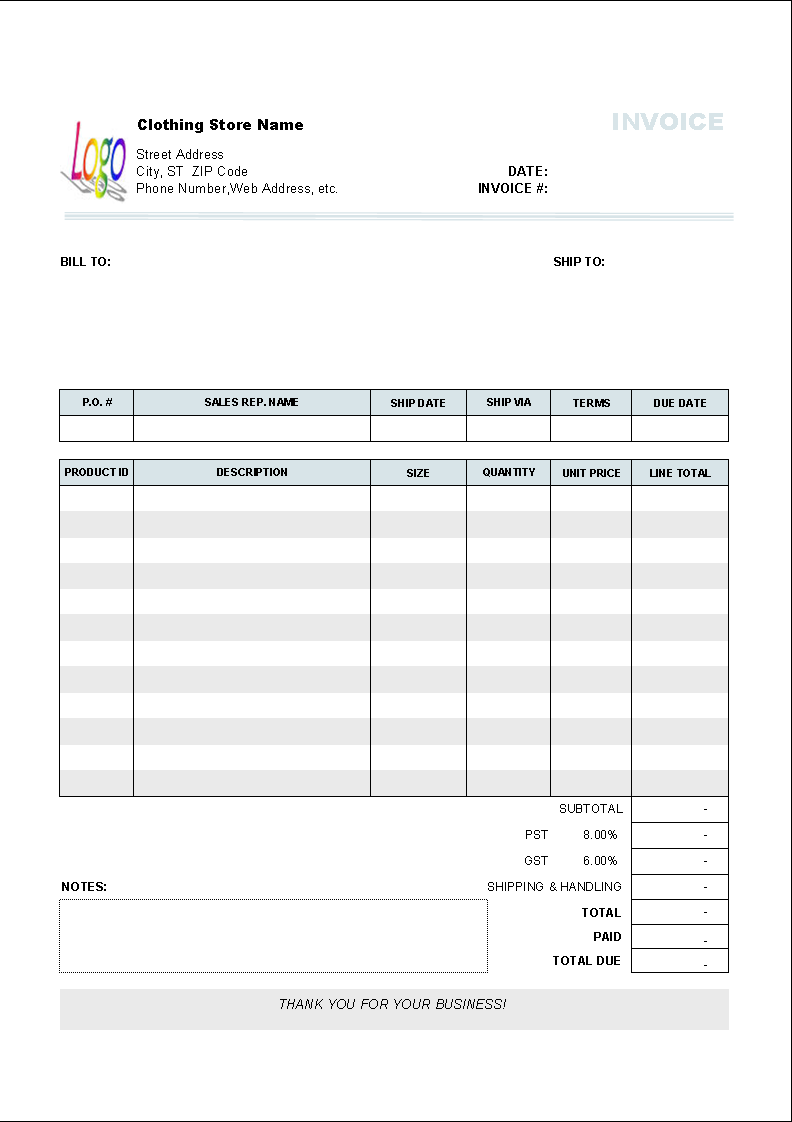 Clothing Store Invoice Template 1.10