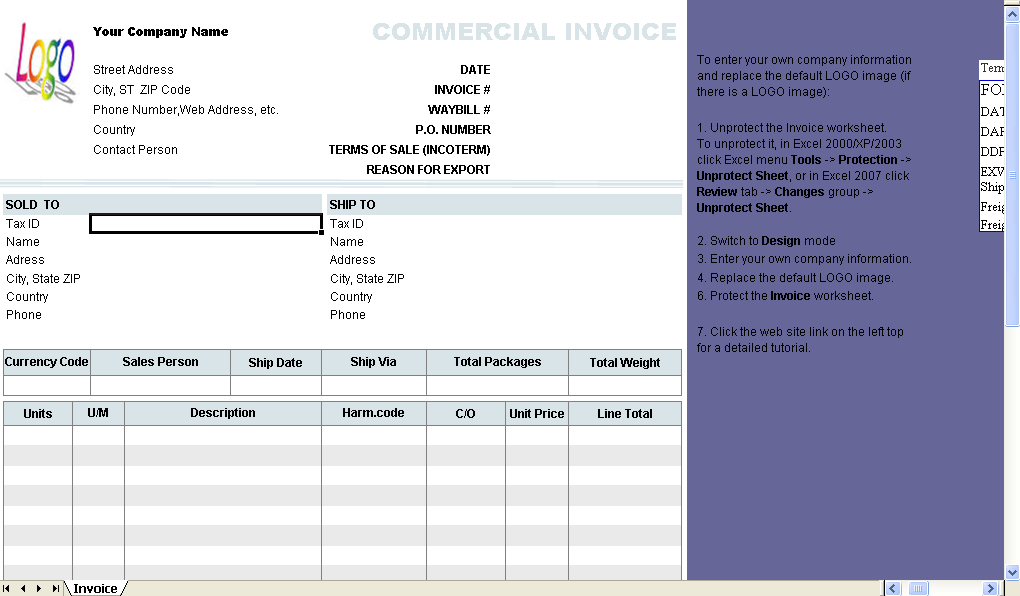 Commercial Invoice Template 1.10