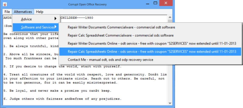 Corrupt Open Office Recovery 1.3.0