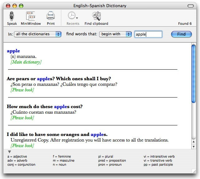 English-Spanish Dictionary for Mac 5.1