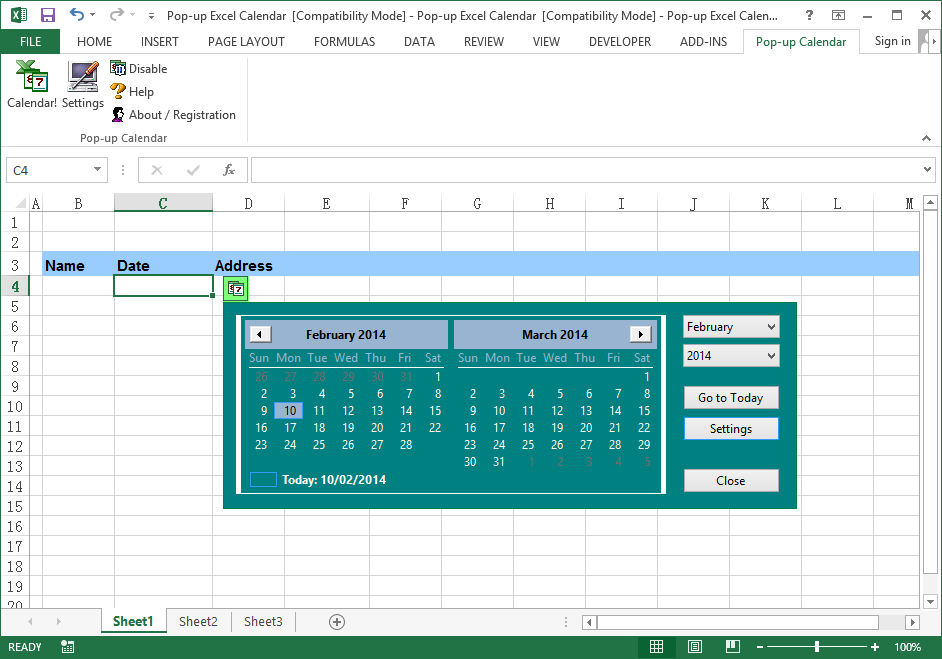 Excel Date Picker 2.10