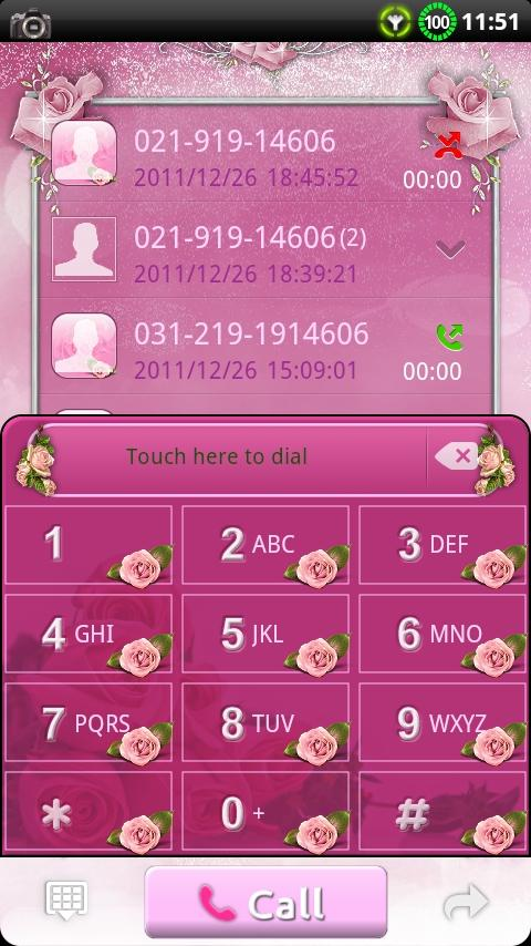 GOContacts theme Pink Roses 1.04