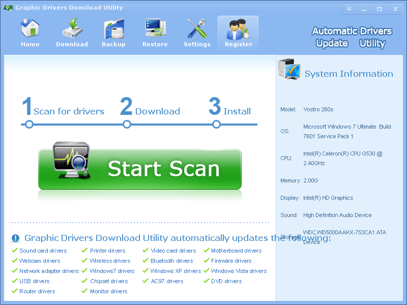 Graphic Drivers Download Utility 3.6.5