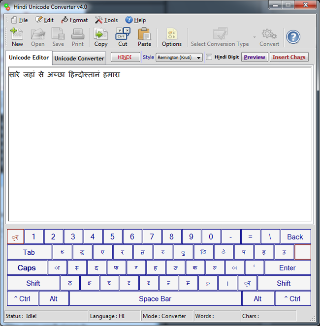 Hindi Unicode Converter & Writer 4.0