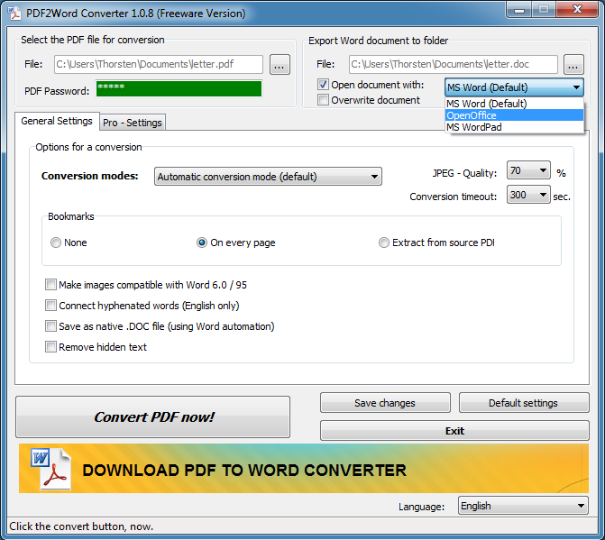 Hodes PDF to Word Converter 1.0.8