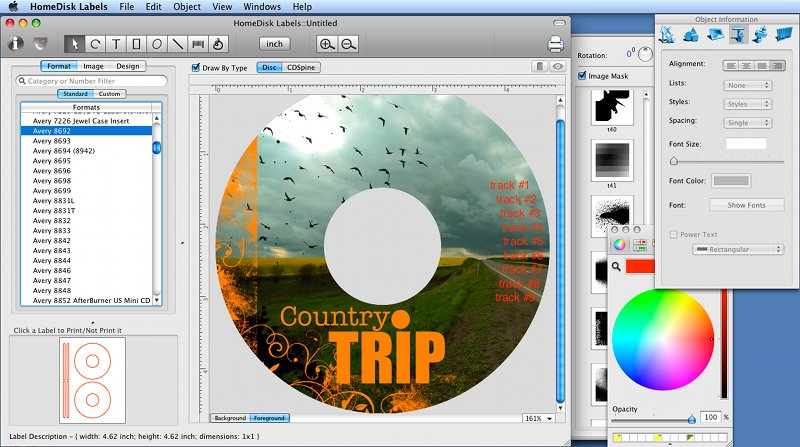 Home Disc Labels, Mac CD/DVD Label Maker 1.9.5
