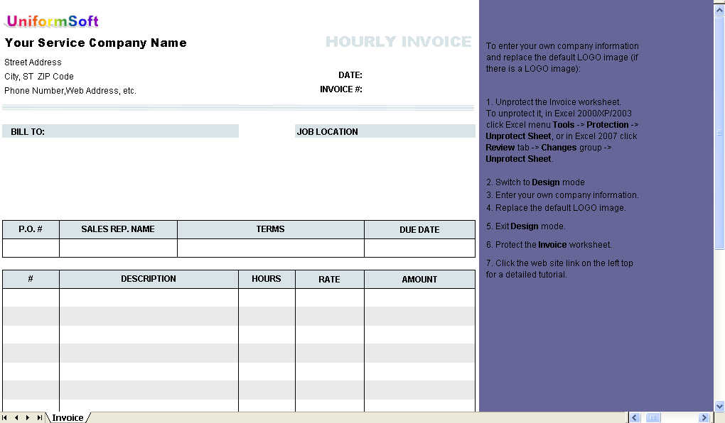 Hourly Invoice Form 1.10
