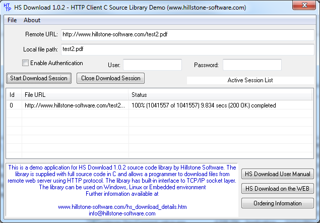HS Download HTTP Client Library in C/C++ 1.0.3