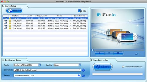 iFunia DVD to PSP Converter for Mac 2.9.8