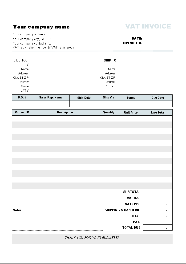 Invoice Template with Two VAT Tax Rates 1.10