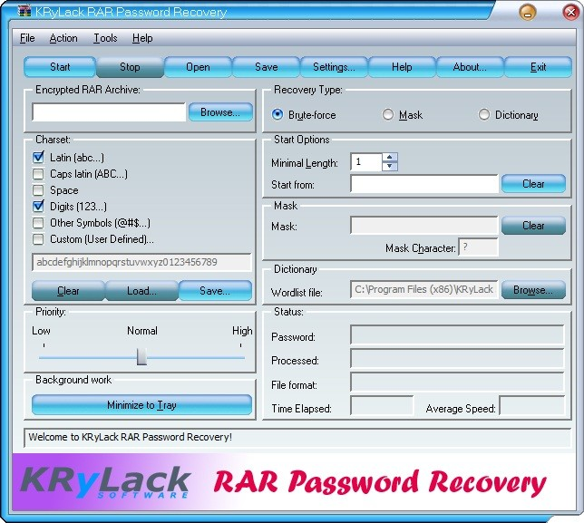 KRyLack RAR Password Recovery 3.70