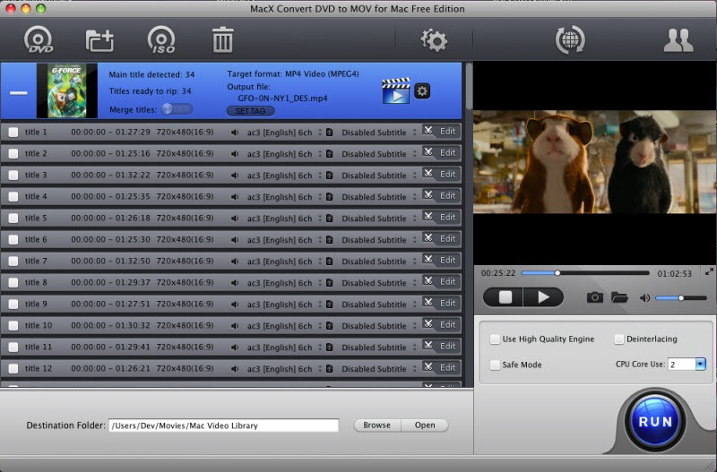 MacX Convert DVD to MOV for Mac Free 4.2.2