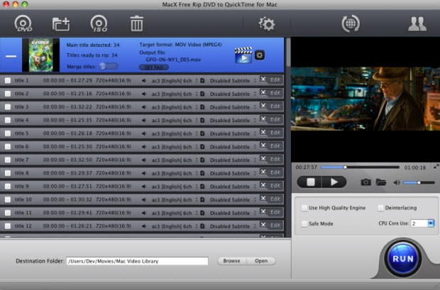 MacX Free Rip DVD to QuickTime for Mac 4.1.9