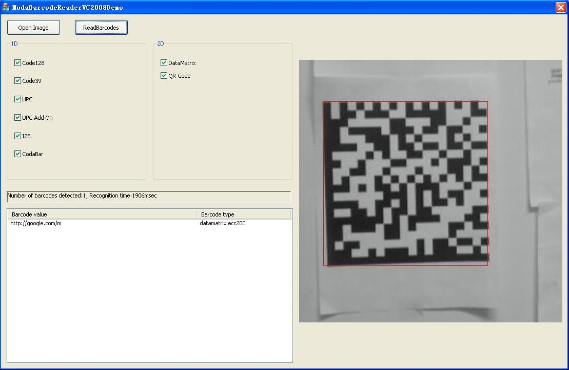 Moda Barcode Reader ActiveX 2.0