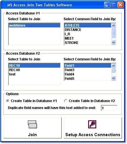 MS Access Join Two Tables Software 7.0