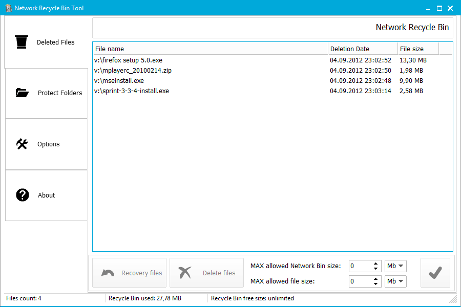 Network Recycle Bin Tool 5.2.2.10a