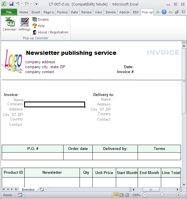 Newsletter Publishing Invoice Template 1.10