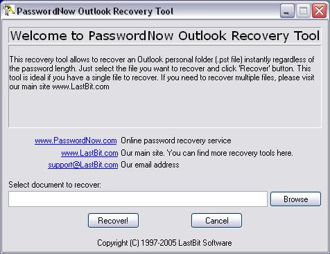 PasswordNow Outlook Recovery Tool 3.0