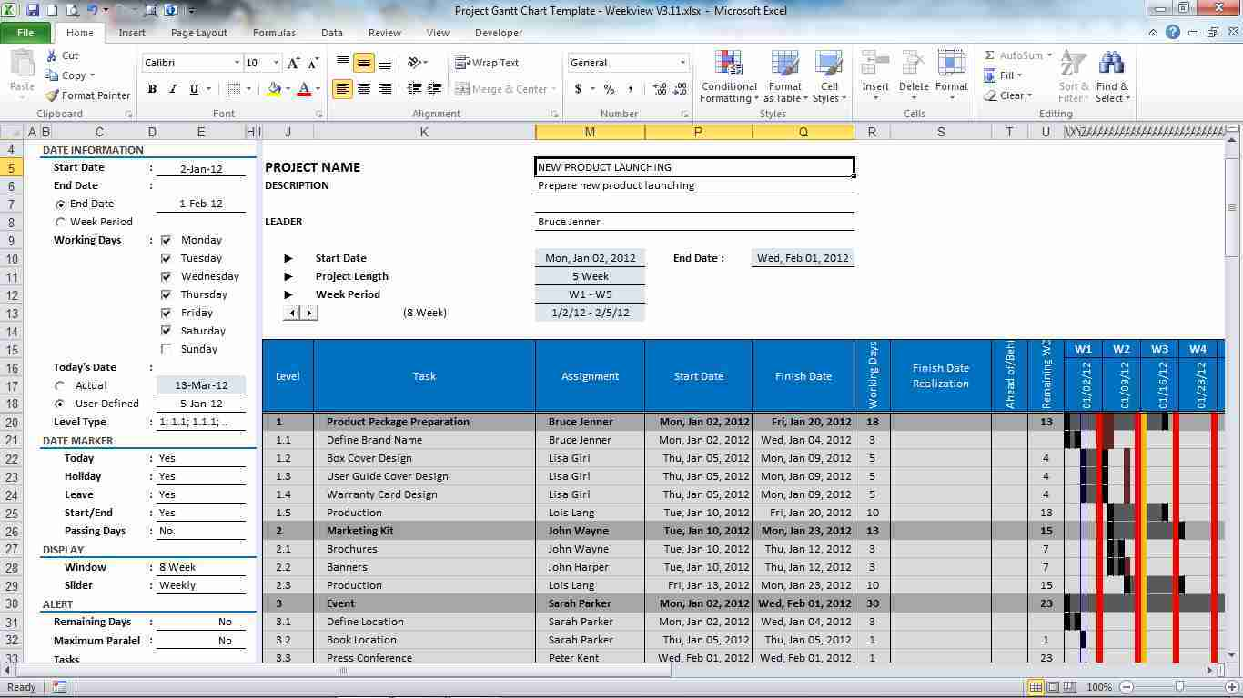 Project Gantt Chart Template for Excel 3.12