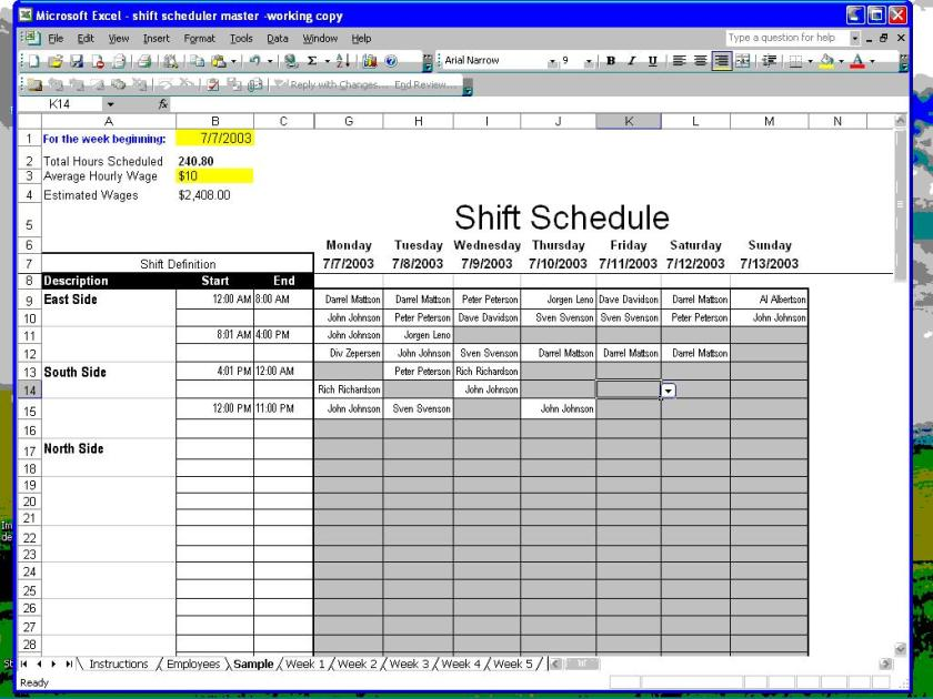 Shift Scheduler for Excel 1
