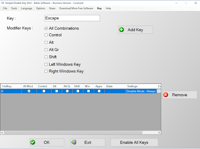 Simple Disable Key 8.5