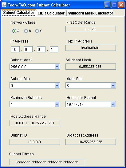Tech-FAQ.com Subnet Calculator 1.0