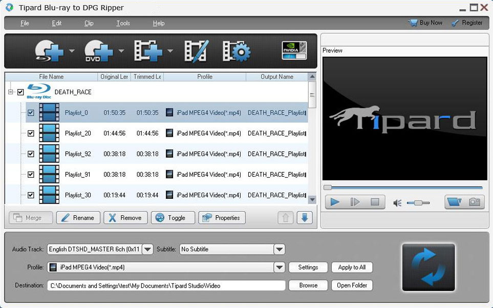 Tipard Blu-ray to DPG Ripper 6.3.08