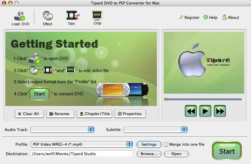 Tipard DVD to PSP Converter for Mac 3.1.18