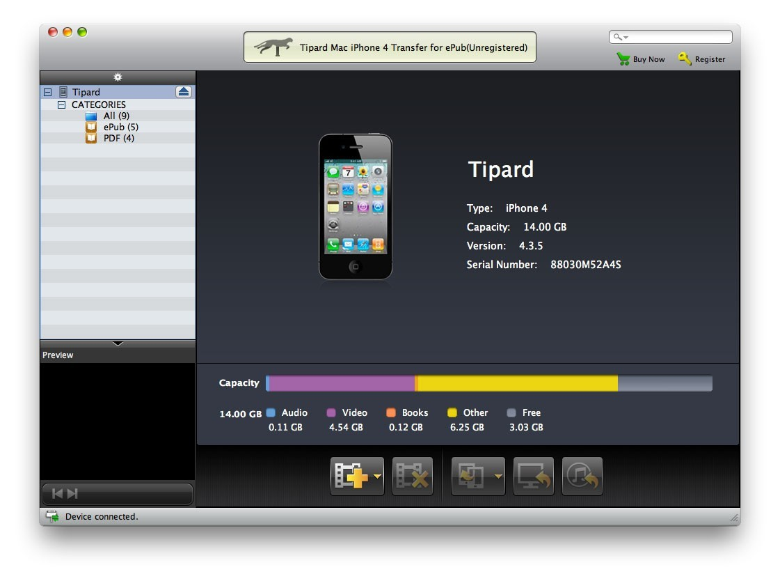 Tipard Mac iPhone 4G Transfer for ePub 3.1.08