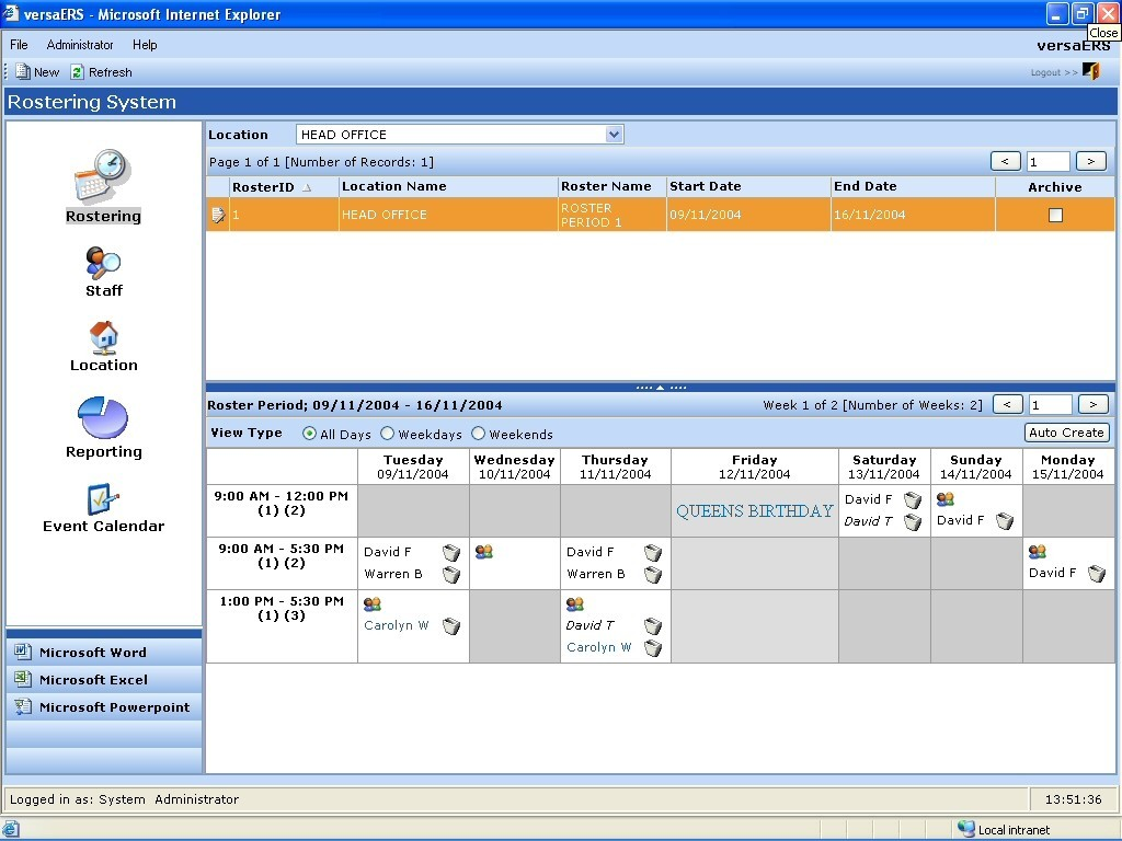 VersaERS Employee Rostering System 2.1.2