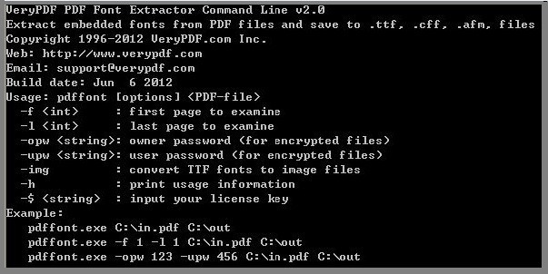 VeryPDF PDF Font Extractor Command Line 2.0