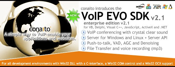 VoIP DLL, OCX/ActiveX, COM, C-interface and .NET for Windows and Linux 2.1
