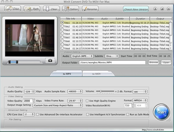 WinX Convert DVD to MOV for Mac 2.0