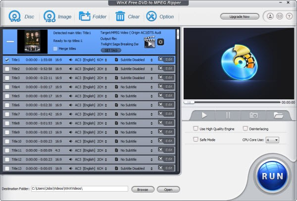 WinX Free DVD to MPEG Ripper 7.0.5